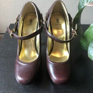 Baker Brown Leather Buckle Pumps